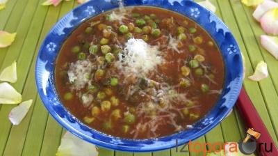 Томатный соус с зеленым горошком и медом