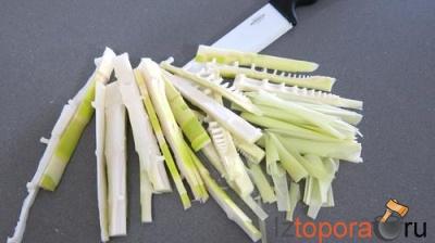 Запеканка с побегами бамбука, спаржей и ветчиной