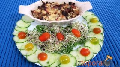 Хлебная запеканка с салатом