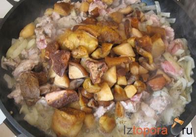 Свиная запеканка с грибами